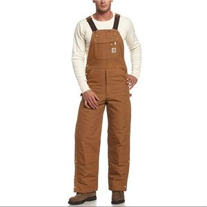 Carhartt Quilt Lined Zip To Thigh Bib Overalls